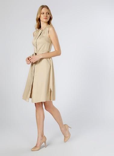 Fabrika Kolsuz Midi Elbise Bej
